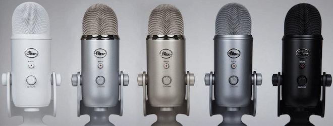 blue yeti in 5 different colors
