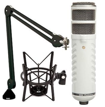 rode podcaster kit with boom arm and shock mount
