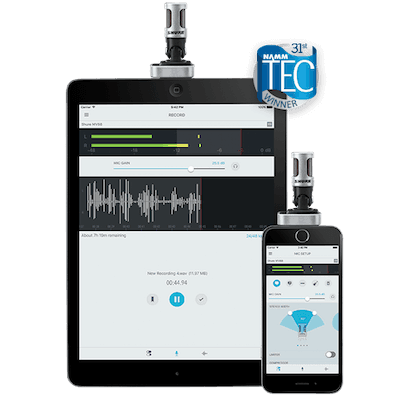 Shure MV88 on ipad and iphone with motivplus app