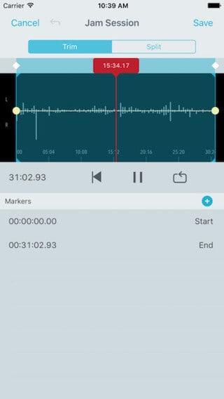 shureplus edit recording screen