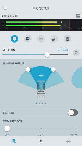 shureplus mic setup screen