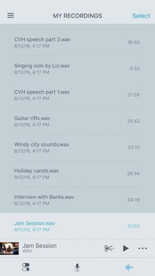 shureplus my recordings screen