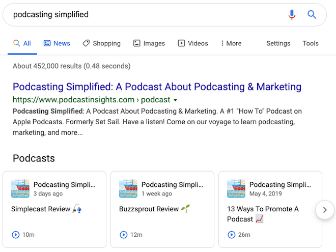 Podcasting Simplified Podcast in Google Search results