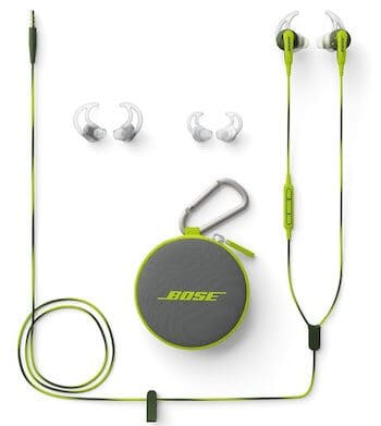 Bose SoundSport in Energy Green with accessories and case