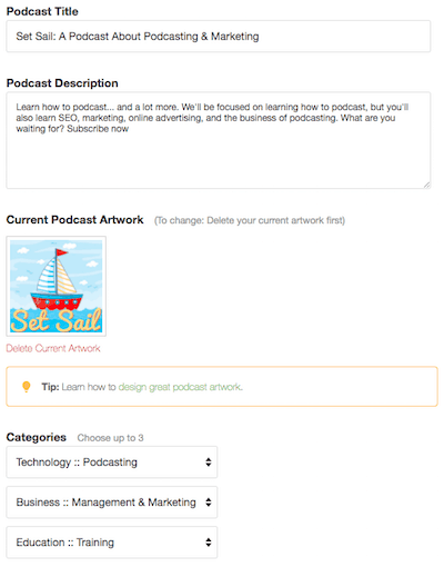 Buzzsprout podcast settings