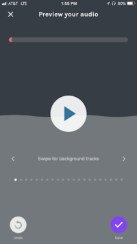anchor ios app swipe to add background tracks to recording