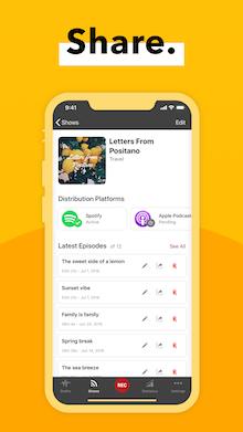 Spreaker share mobile app mockup