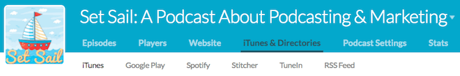 buzzsprout dashboard navigation (itunes selected)