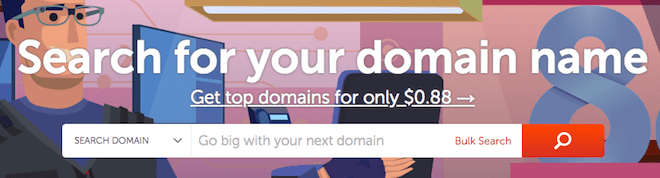 Namecheap homepage and search