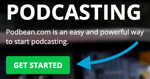 Podbean coupon get started button