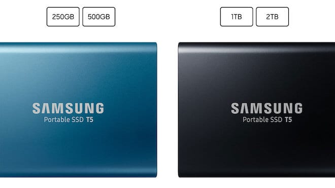 Samsung T5 external SSD colors and sizes