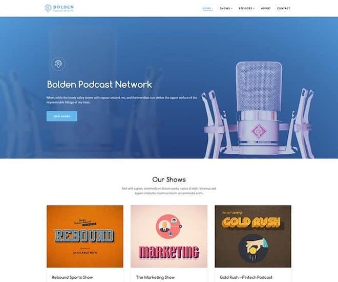 Bolden podcast network wordpress theme homepage