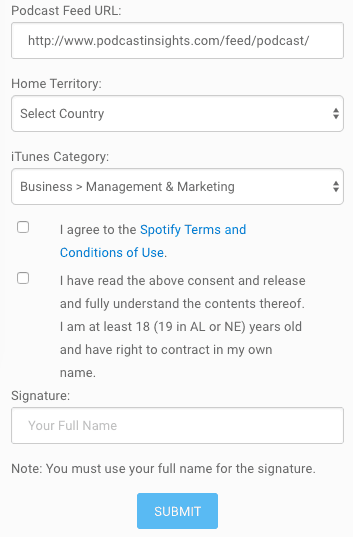 Blubrry Spotify submission form