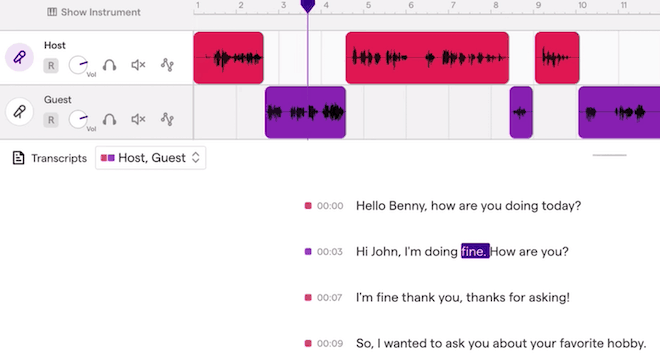 Soundtrap timeline and transcription editing screen