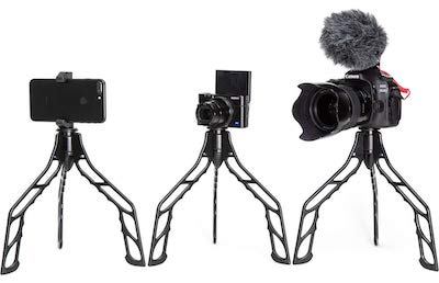 SwitchPod tripod with 3 different cameras
