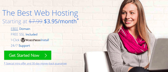 Bluehost get started now homepage
