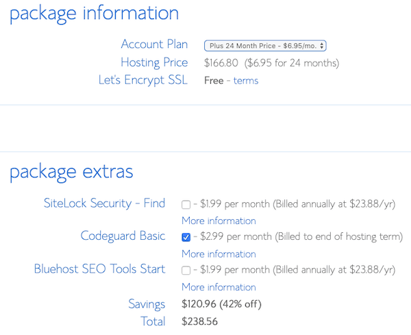 Bluehost pricing info