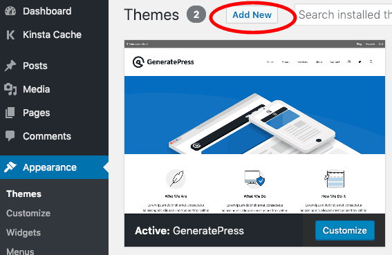 Add New WordPress Themes