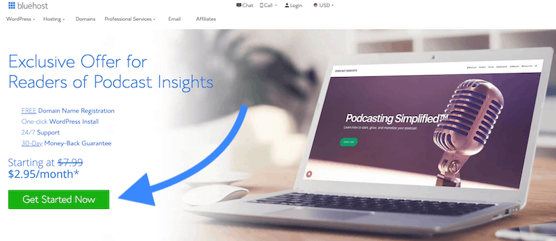 Bluehost coupon for Podcast Insights