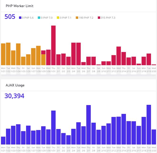 Kinsta Analytics PHP Worker limit and AJAX usage graphs
