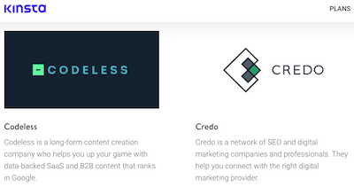 Kinsta Partners: Codeless & Credo