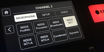 Rodecaster Pro channel 2 NT1 selected