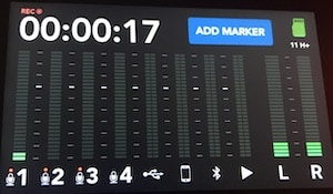 Rodecaster Pro recording screen closeup