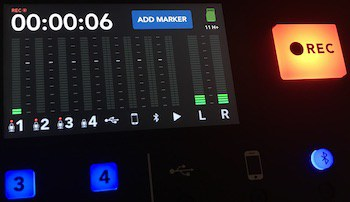 Rodecaster Pro recording screen with buttons
