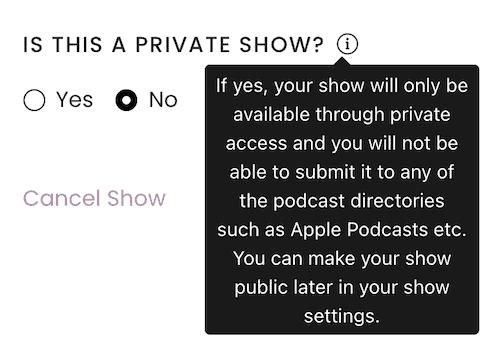 Captivate private podcast toggle
