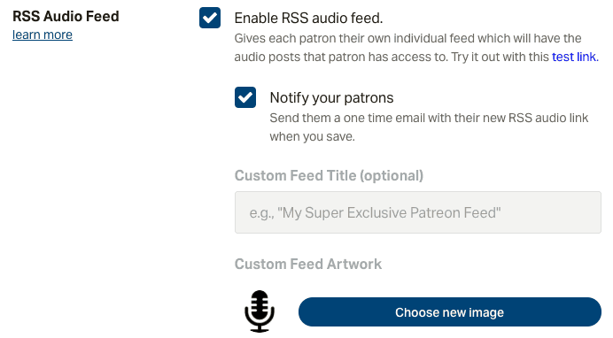 Patreon RSS feed settings