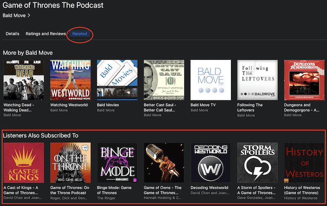 iTunes related podcasts (listeners also subscribed to)