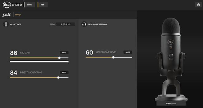 Blue Sherpa software with Yeti settings