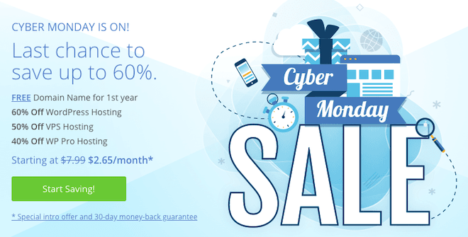 Bluehost Cyber Monday 2019