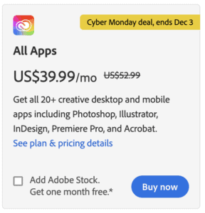 Adobe Creative Cloud Cyber Monday deal 2020